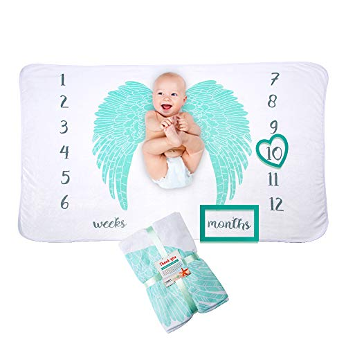 Premium Fleece Baby Milestones Blankets: for Boys Girls Angel Wings | Photography Props Two Bonus Frames Ornament | Best Baby Shower Gift New Moms | Personalized Pictures Watch Infant Growth Age Weeks (Angel Wing Feather Ornaments)
