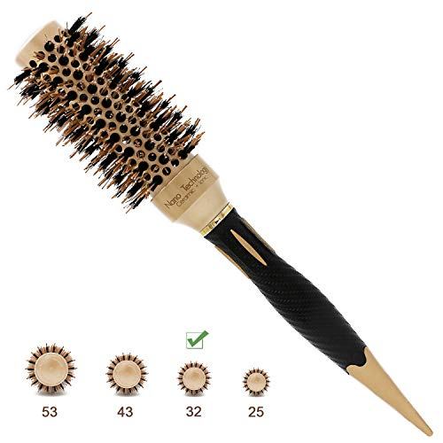 - Barrel Round Hair Brush Nano Ionic Thermal Ceramic Boar Bristles Roller Hairbrush For Blow Drying, Curling, Straightening, Perfect Volume Shine (2.4