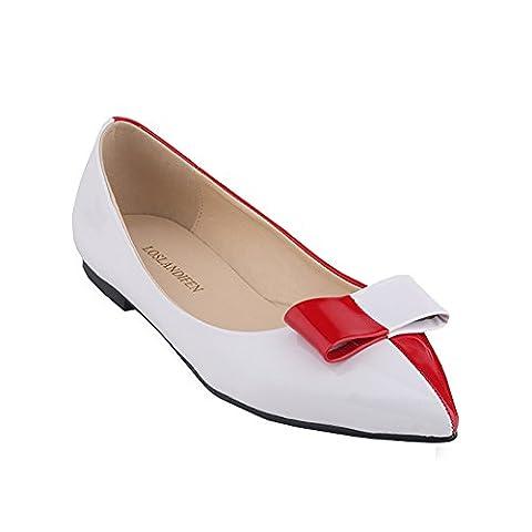 Loslandifen Women's Faux Leather Patent Mix Color Ballet Flat(020-1PA35,red)