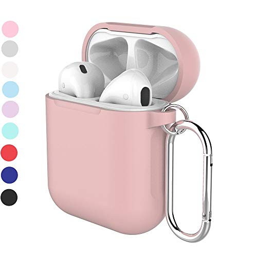 Airpods case,Erwubala Airpod Protective Case Cover Soft Silicone Skin with Keychain Compatible for Apple Airpods 2 & 1(Pink)