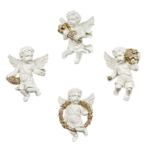 - Ownstyle Angel Design Ornaments Wall Hanging Cherub Harvest Wall Sculptures 4 Pcs A Set (gold drawing)