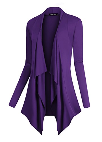(Urban CoCo Women's Drape Front Open Cardigan Long Sleeve Irregular Hem (XL, Purple))