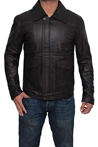 Decrum Mens Indiana Jones Classic Leather Jacket - Distress Brown Jacket | L