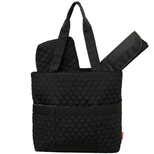 Black Diamond Pattern NGIL™ Quilted 3pc Diaper Bag