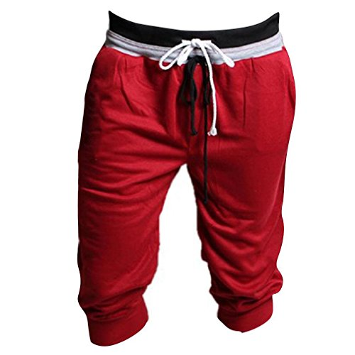 1PC Men Sport Sweat Pants Shorts Dance Training Trousers (M, Red) - Adult Dance Sweatpant