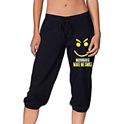 Make Me Smile Woman Capris Drawstring Workout Leggings Pants Fashion Gym Athletic Sport Trousers Use To Play Basketball Black SizeL