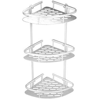 Amazon.com: Bathroom Double Tier Corner Shelves, Shower Caddy ...