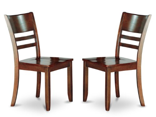 East West Furniture LYC-ESP-W Dining Chair Set with Wood Seat, Espresso Finish, Set of 2