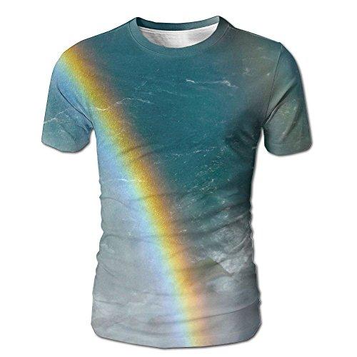 Vicrunning Double Rainbow at Niagara Falls Mens T Shirts Classic Adult Crew Neck Short Sleeve Tshirt -