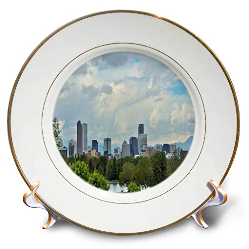 3dRose Dreamscapes by Leslie - Scenery - Denver Colorado Cityscape - 8 inch Porcelain Plate (cp_314242_1)