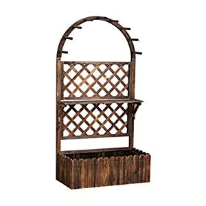 HEMFV Di Legno Solido Planter Box con Trellis Meteo Resistente Outdoor - Raised Elevato Garden Bed Wooden Planter… 3 spesavip
