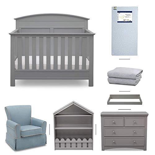 Serta Ashland 7-Piece Nursery Furniture Set - Convertible Crib | 4-Drawer Dresser | Changing Top | Bookcase | Crib Mattress | Glider | Crib Sheets | Grey