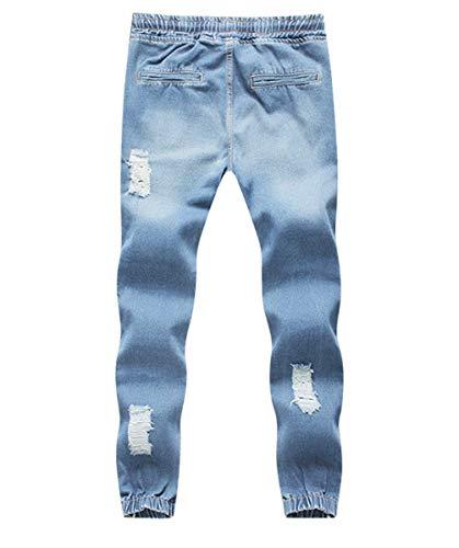 Pantaloni Laterali Denim E In Strappate Con Da Vita Uomo Hellblau Elastico Tasche Coulisse Jeans Giovane Yasminey wCgHOg