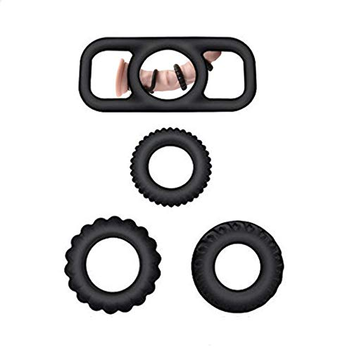 14HAO 4 pcs Set Silicone Delay Ring Waterproof Reusable (Black) -64 by 14HAO