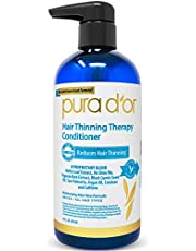 PURA D'OR Hair Thinning Therapy Conditioner - Strengthening, Clarifying & Moisturizing Cleanser - For Fuller Volume, Added Moisture, And Softer Hair, Men & Women, 473 ml (Packaging may vary)