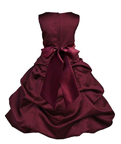 ekidsbridal Burgundy Satin Pick-Up Bubble Flower Girl Dress Daily Dress 806S 6