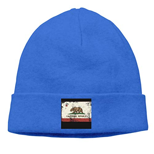 NO4LRM Men Women Retro California Flag Stretchy Warm Daily Beanie Hat Skull Cap Winter Outdoor Sports