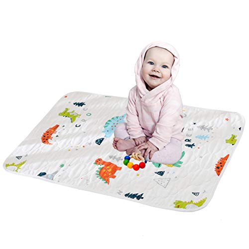 Cotton Gauze Changing Pad Portable Waterproof Changing Mat for Boys Cute Cartoon Printed Diaper Mat for Baby (Dinosaur, M)
