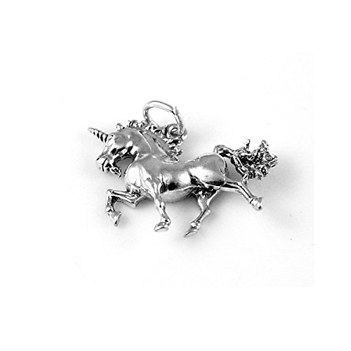 Sterling Unicorn Silver Charm - Sterling Silver Unicorn Charm One Sided Item #9374A