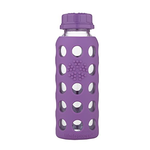 Lifefactory Bpa Free Glass (Lifefactory 9-Ounce BPA-Free Glass Water Bottle with Flat Cap and Silicone Sleeve, Grape)