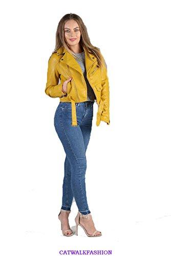 catwalkfashion1 - Chaqueta - Biker - para mujer amarillo Mostaza 40 (L)