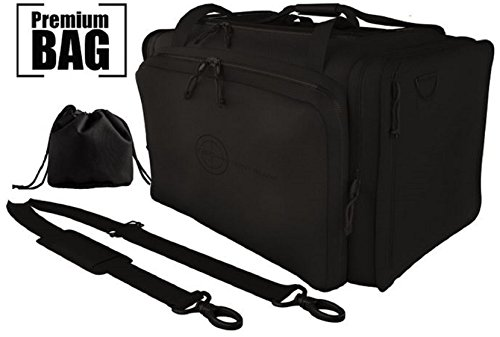 Review Range Bags For Handguns Tactical Gear Shooting Accessories | Large 1200 D Gun Bag Waterproof Bottom | Standard And AR Magazine Holders | Padded Pistol Cases | BONUS: Spent Ammo Bag by ZERO-Point Blank