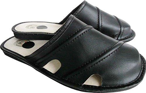 Latschen Hausschuhe Made in Gr 313 2 Pantoffeln Echt 12 41 Schwarz Poland Leder rrqwCSd