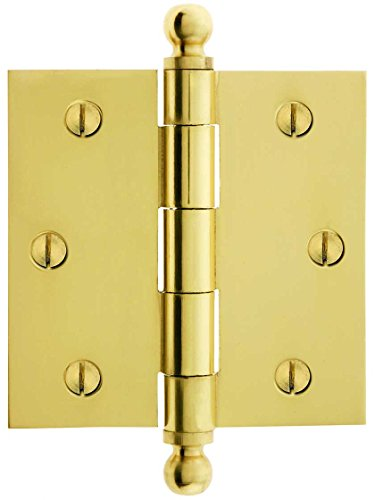 House of Antique Hardware W-04HH-220-PB Solid Brass Door Hinge with Ball Finials, 3 1/2