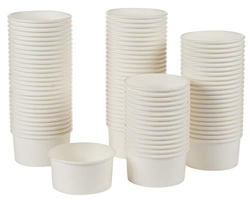 Juvale Ice Cream Cups 12 Ounce Bulk 100 Pack, Paper, White