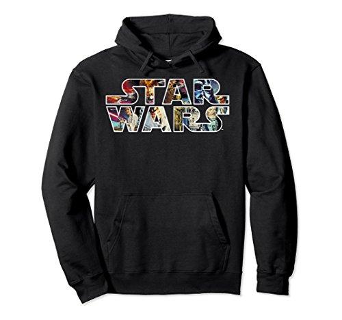 Unisex Star Wars Classic Movie Poster Logo Graphic Hoodie Large Black