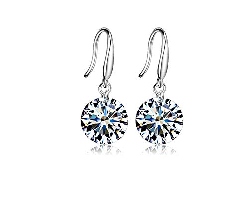 Sinwo Fashion Women Exquisite Stud Dangle Earrings Wedding Jewelry Gift (Silver) ()