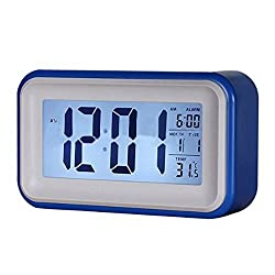 Digital Alarm Clock Large Display Desk Electric Alarm Clock Blue with Light Control & LED Touch Sensor & Battery Powered