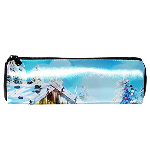 - Anmarco Christmas Log Cabin Snowman Blue Leather Pen Pencil Case Coin Purse Pouch Cosmetic Makeup Bag for School Work Office