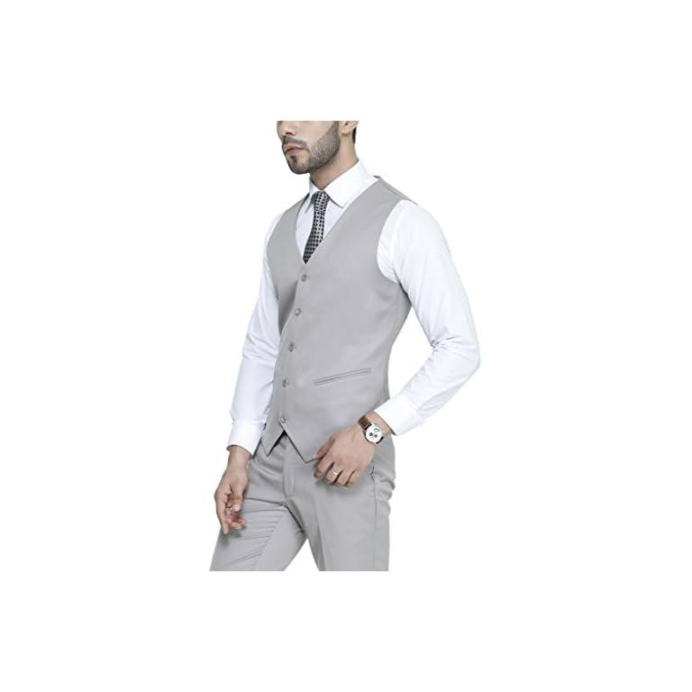 41PG%2BdpMgOL. SS768  - MANQ Men's V.Neck Five Button Slim Fit Formal/Party Waist Coat