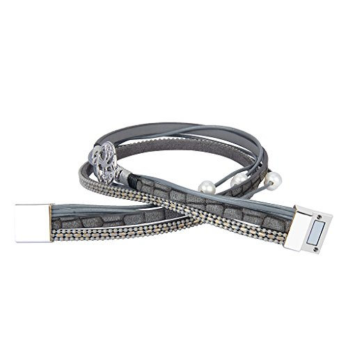 JOYMIAO Gray Genuine Leather Bracelet Tree of Life for Women Handmade Jewelry Braid Rope Cuff Bangle with Magnet Buckle by JOYMIAO (Image #3)