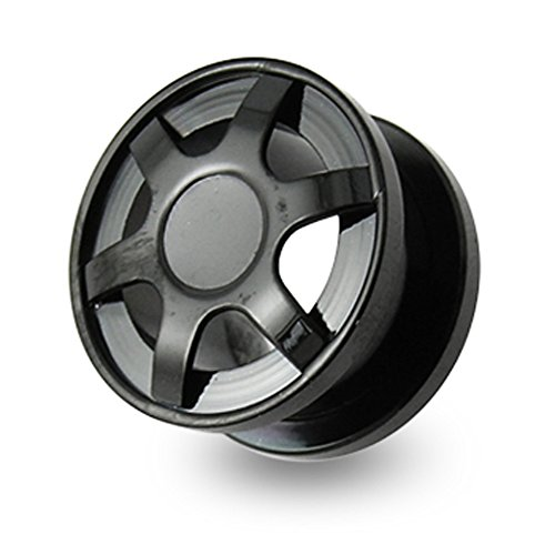 1/2 Inch - 12MM Black Anodized Alloy Max Wheel 316L Surgical Steel Screw Fit Flesh (Alloy Custom Wheels)