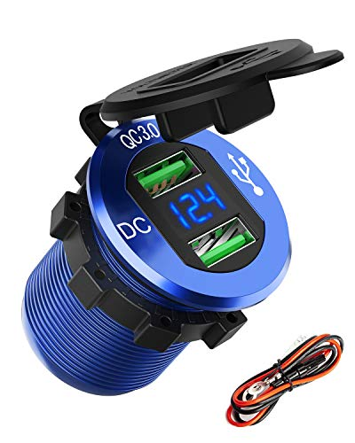 Quick Charge 3.0 USB Car Charger, SunnyTrip 36W Aluminum Waterproof Fast QC 3.0 USB Charger Socket Outlet Power Adapter with LED Voltmeter for 12V/24V Marine Boat Motorcycle ATV Golf Cart Truck
