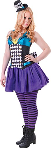 [Girls Fancy Halloween Festival Party Complete Outfit Mad Hatter Costume Dress] (Mad Hatter Girl Costume Uk)