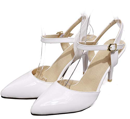 Ballet Bianco Alto AgooLar Puro Flats Tacco di Pelle GMMDB010582 Donna Fibbia Maiale x681TPq