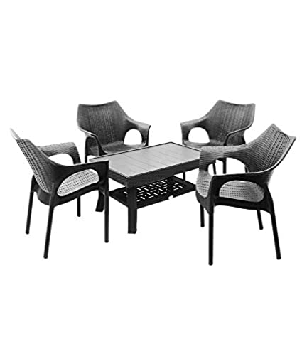 Dzyn Furnitures Outdoor Set (4 Cambridge Chair + 1 Vegas Table) Black