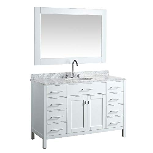 "Luca Kitchen & Bath LC54CWW Geneva 54"" Single Vanity Set in White with Carrara Marble Top, Sink, and Mirror"