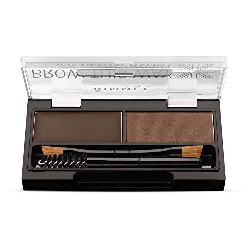 Rimmel Brow This Way Sculpting Kit, Dark Brown, Powder 0.04 oz., Wax 0.03 oz., Brow Sculpting & Styling Kit with Eyebrow Wax & Setting Powder (Best Cheap Eyebrow Powder)