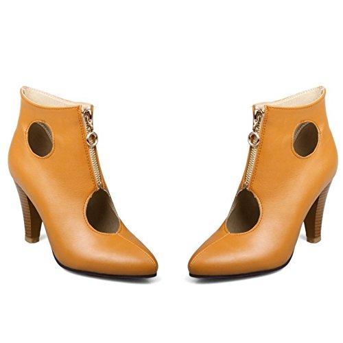 COOLCEPT Mujer Moda Cerrado Hueco al Tobillo Tacon Ancho Embudo Verano Botas Zapatos Yellow