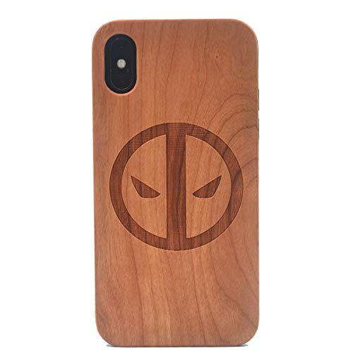 iPhone Xs Wooden Case, Super Hero Cartoon Ninja Pattern Carving Real Wood Premium Protective Shockproof Slim Cover for iPhone X (2017),iPhone Xs (2018)