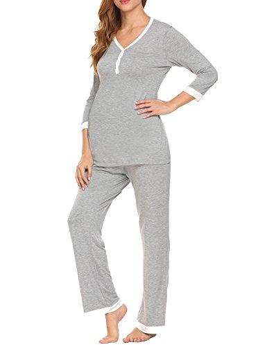 (MAXMODA Women's Maternity Nursing Sleepwear Henley Top and Long Pants Nursing Pajama Set Grey XXL)