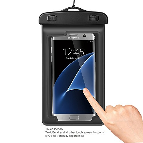 Waterproof Pouch Dry Bag Case Phone Holder with Armband and Lanyard for iPhone 7 Plus / 8 Plus/X, Galaxy S9 / S9 Plus/LG V40 ThinQ / Stylo3 / G7 ThinQ/Google Pixel 3 XL/OnePlus 6T (Black)