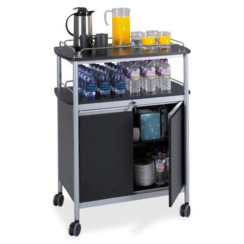 e Cart - 1 Shelf - 4 x 3.50quot; Caster - Melamine, Steel - 33.5quot; x 21.8quot; x 43quot; - Gray - Steel - Chrome (Mobile Beverage Cart)