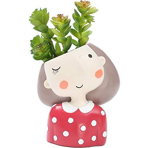 Little Girl Planter,Mosunx Housewares Pot Heads for Plants for Succulent Flower Airplant Cactus,Plant Head Decor for Home Garden Office Desktop (Red)