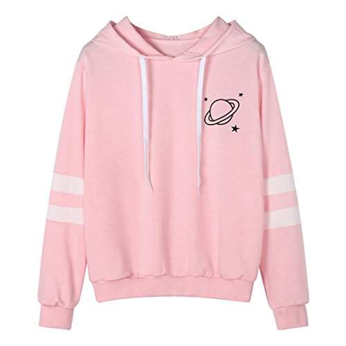 - BCDshop Petite Women Teen Girl Sweatshirt Hoodie Long Sleeve Shirt Saturn Star Crop Tops(Pink, S)
