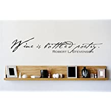 Design with Vinyl 1 Zzz 696 Decor Item Wine is Bottled Poetry Quote Wall Decal Sticker, 8 x 20-Inch, Black